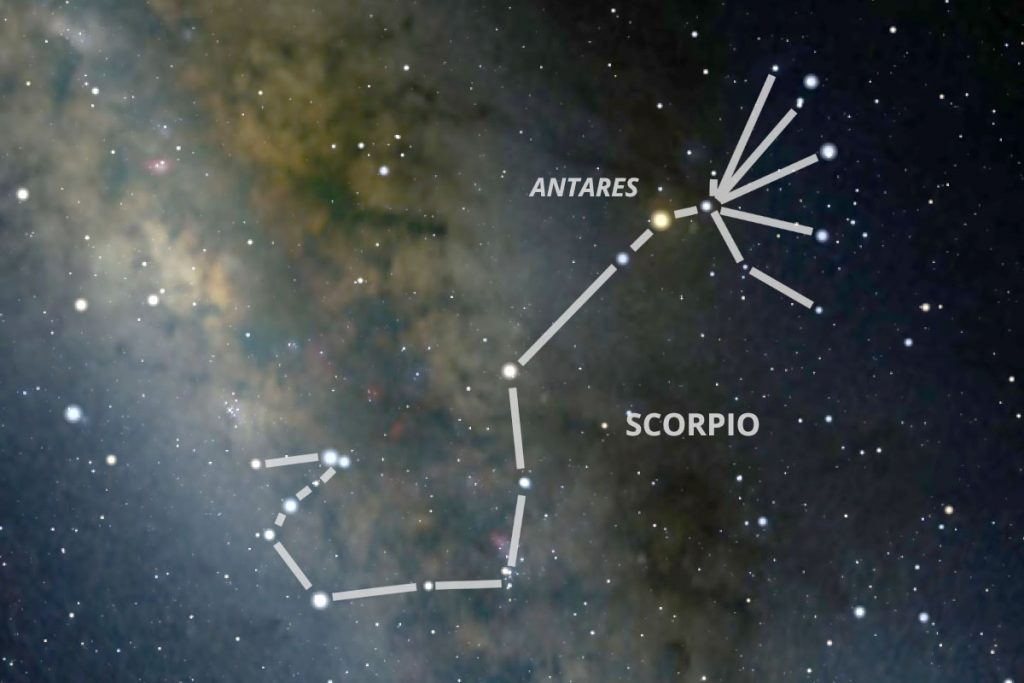 The constellation Scorpio with Antares