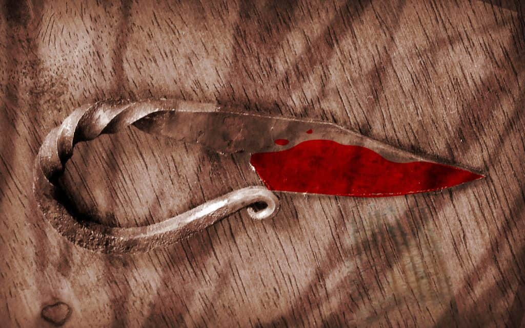 Knife of a Viking woman with blood