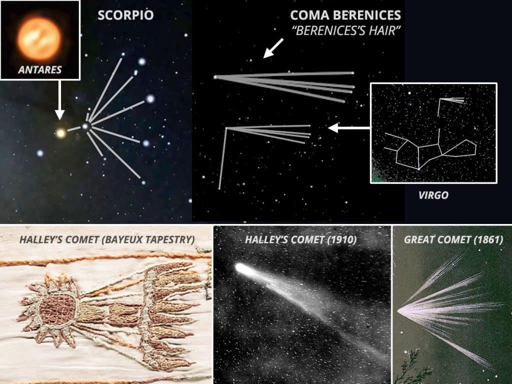 Comets and the constellations Scorpio and Coma Berenices