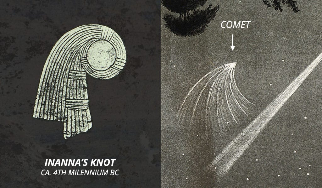 Inanna's knot and a comet with tail