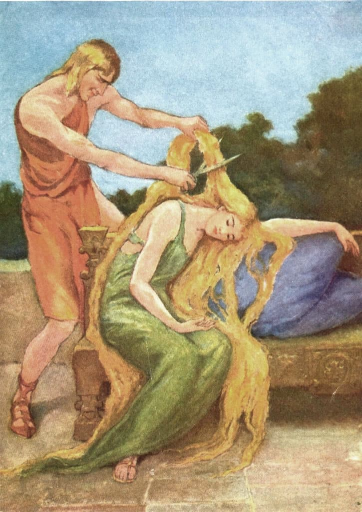 Loki cuts the golden hair of Sif by Katharine Pyle