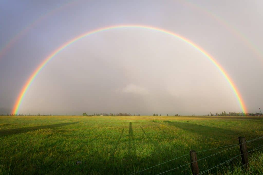 A rainbow with seven colors - seven locks of the sun god