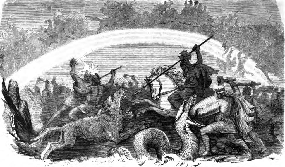 Battle of the Doomed Gods by Friedrich Wilhelm Heine (1882) - Ragnarök