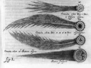 Notable comets from 1577-1652, like a flaming sword