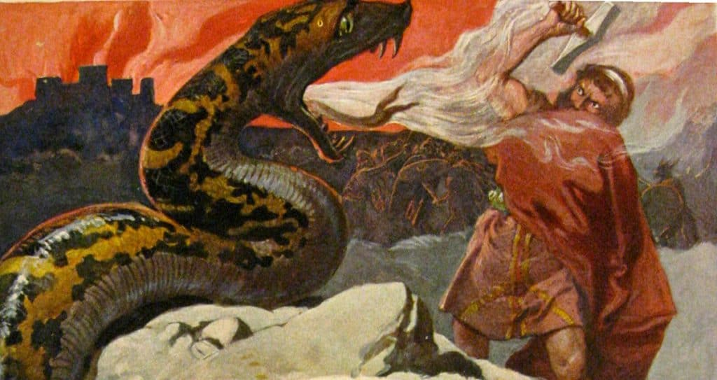 Thor and the Midgard Serpent by Emil Doepler