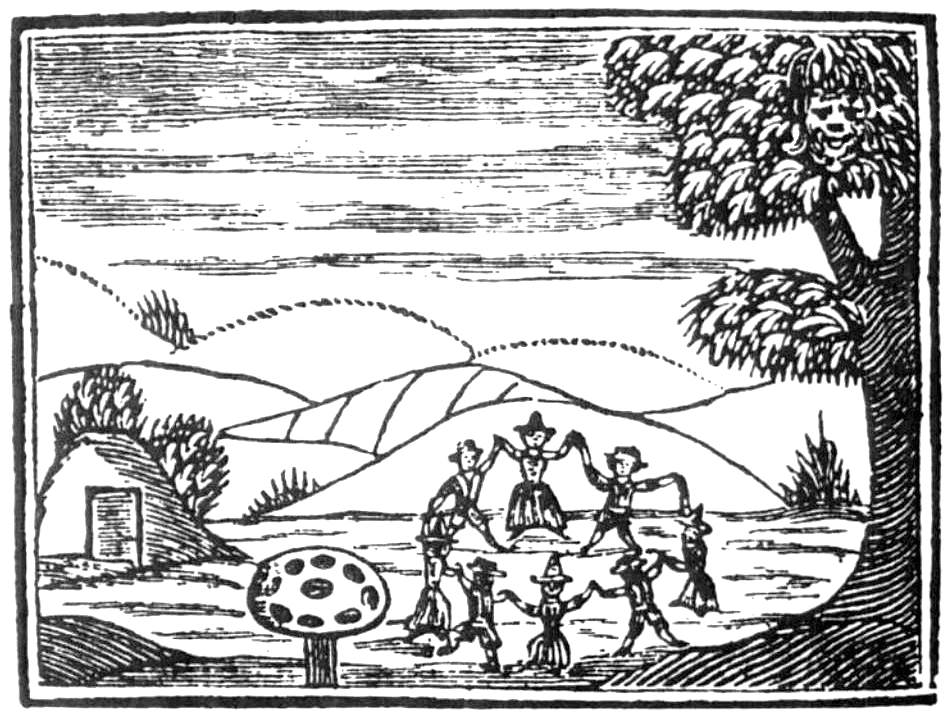 Woodcut of fairies dancing in a ring with giant mushroom